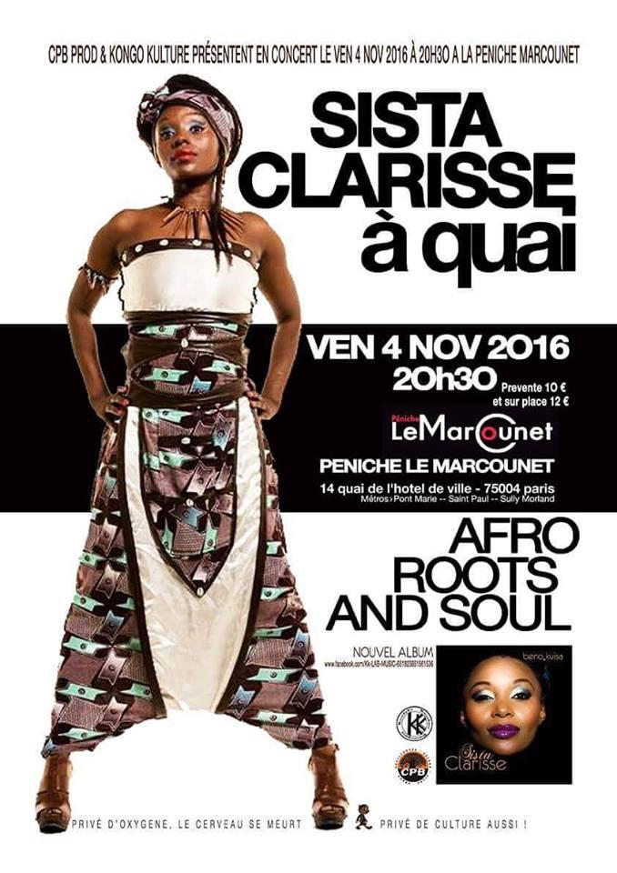 Concert Sista Clarisse, vendredi 04 novembre 2016