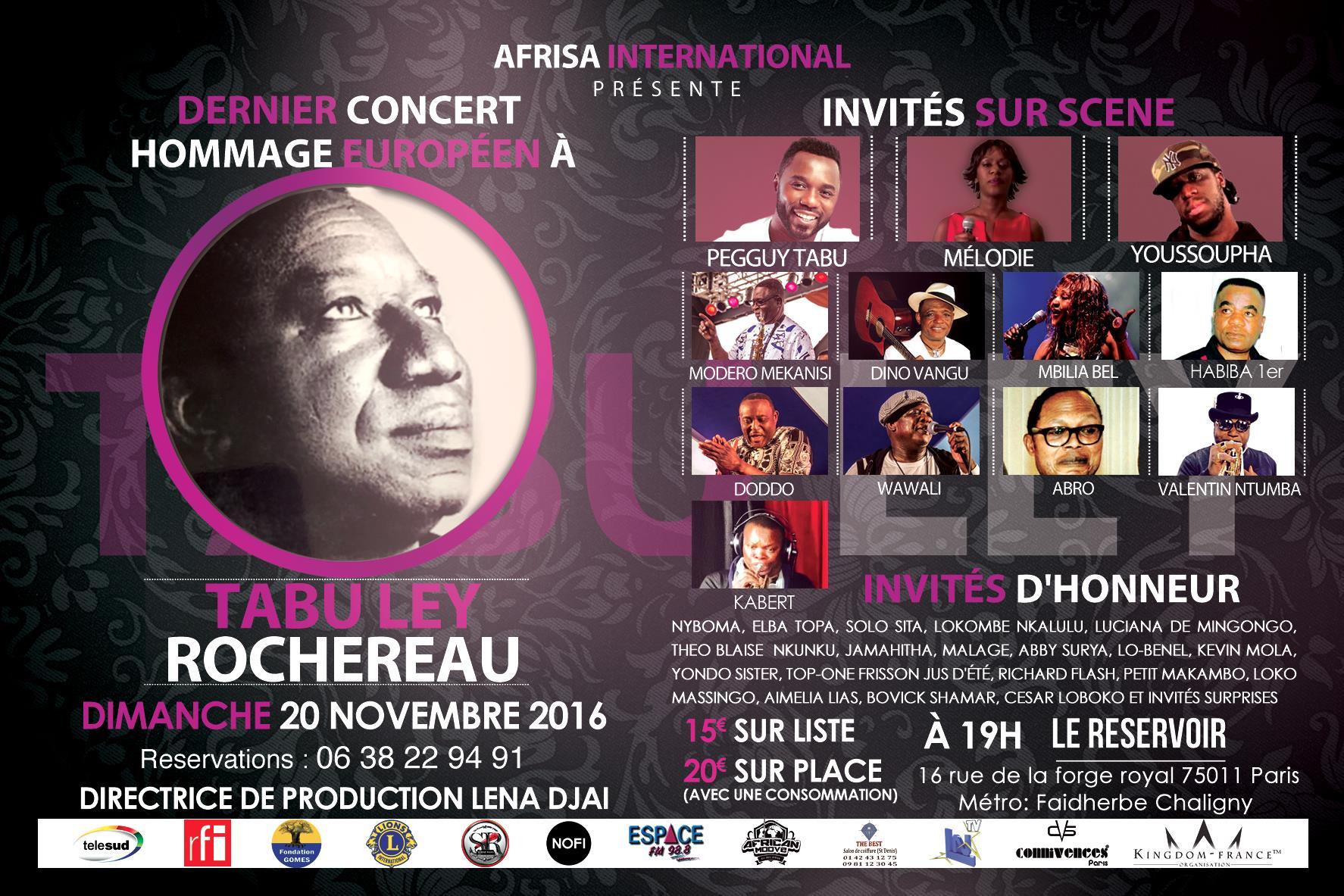 Dernier concert hommage européen à Tabu Ley Rochereau